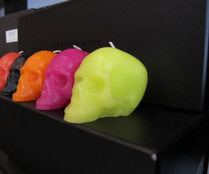 colorful, neon, and skull image
