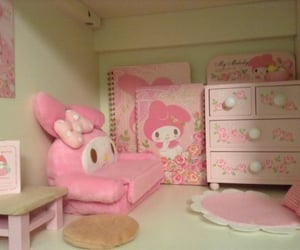 my melody, pink, and room image
