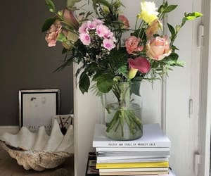 flowers, books, and interior image