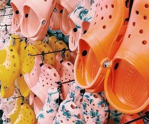 crocs, orange, and pink image