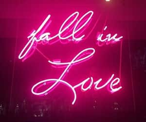 fall in love, pink, and neon image
