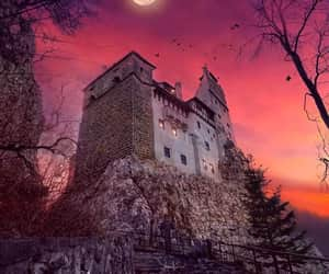 castle, moon, and Dracula image