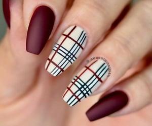 autumn, winter, and burgundy nail art image
