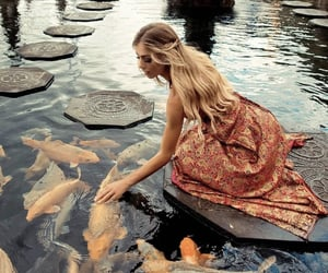 beautiful, fish, and girl image