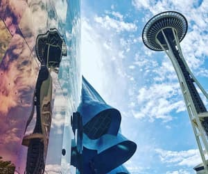 blue, seattle, and clouds image