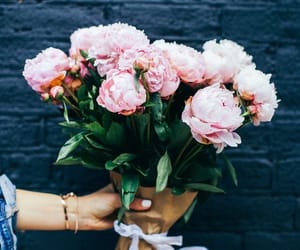 bouquet, pink, and flowers image