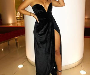 beauty, black heels, and dress image