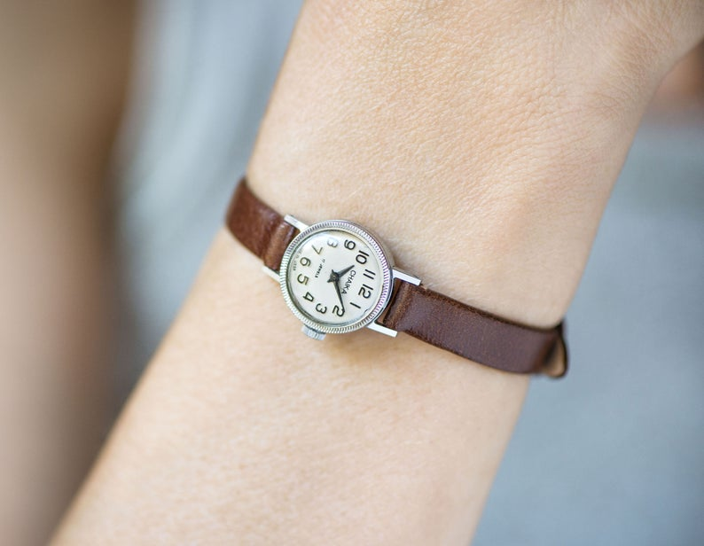 etsy, arabic numerals, and silver women watch image