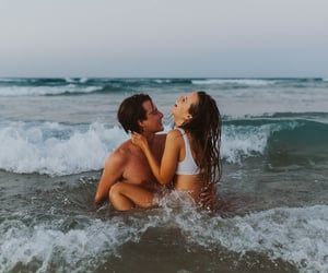 beach, couple, and water image