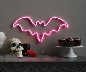 Halloween, neon, and bat image