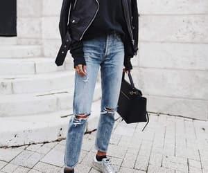 fashion, street style, and leather jacket image
