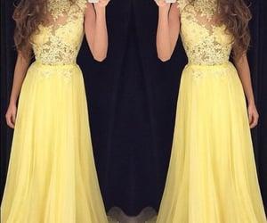 women fashion, yellow prom dress, and cheap prom dress image