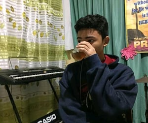boy, drinking, and hoodie image