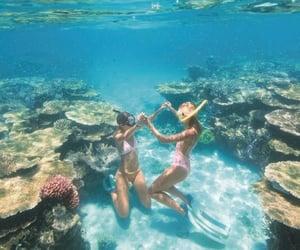 bikini, ocean, and friends image