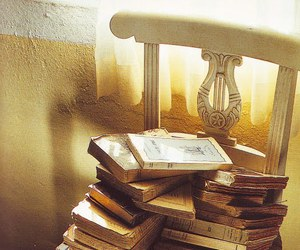 books, golden, and chair image