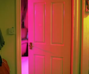 door, pink, and neon image