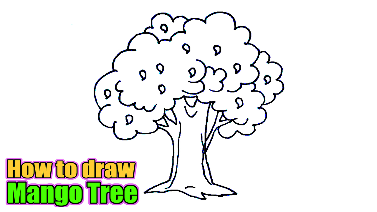How To Draw A Mango Tree Sketch Of Mango Tree Easy Step By Step