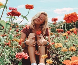 flowers, blonde, and girl image