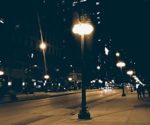 city, lamp post, and lights image