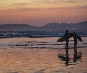 beach, grain, and sunset image