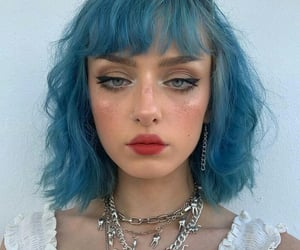 blue hair, colored hair, and short hair image
