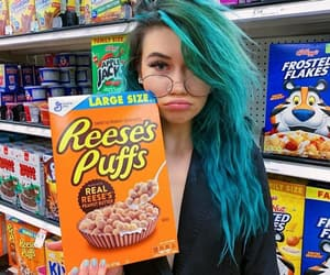 blue hair, cereal, and yt image