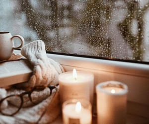 winter, candles, and rain image