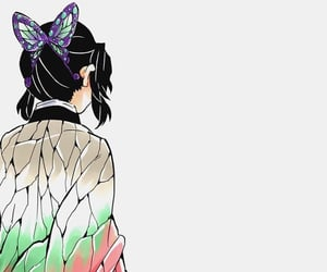 anime girl, butterfly, and color image