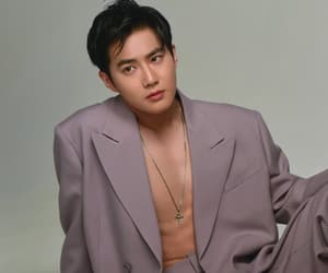 abs, kim junmyeon, and black hair image