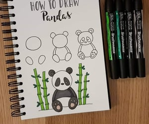 art, drawing, and panda image