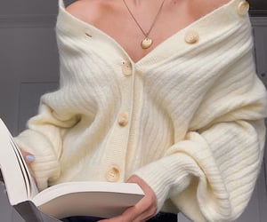 books, cardigan sweater, and fashion image