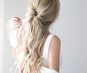 blond, bun, and curl image