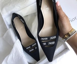 black, black heels, and luxury image