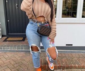 long hair, fendi bag, and jeans troué image