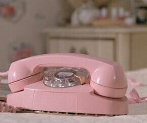 pink, vintage, and telephone image