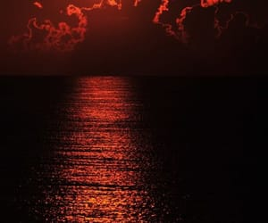 red, sunset, and ocean image