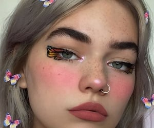 butterfly, girl, and makeup image