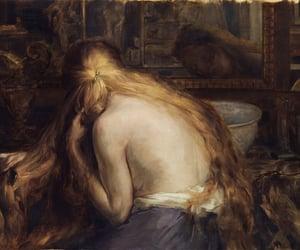 long hair, naked, and mirror image