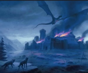 winter, ice dragon, and wolf image