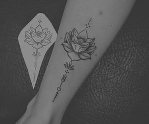 black and white, flower, and Tattoos image