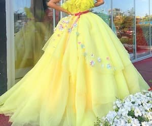 yellow prom dress, ball gown prom dress, and prom ball gown image