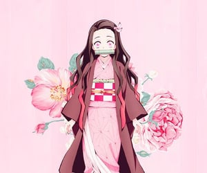 anime girl, flower, and pink image