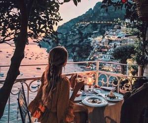 girl, travel, and dinner image