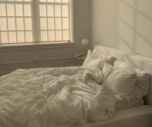 bed, bedroom, and sheets image