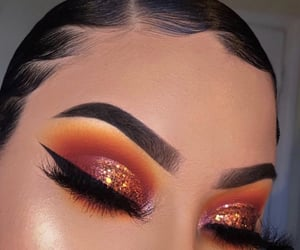 beauty, eyeshadow, and orange image