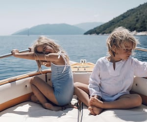 adorable, boat, and kids image