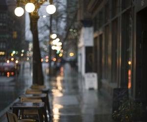city, rainy days, and lights image