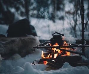 winter, fire, and snow image