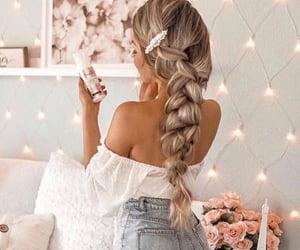 blonde girl, decorations, and denim shorts image