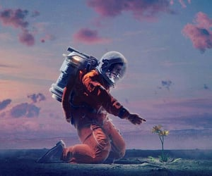 astronaut, art, and flower image